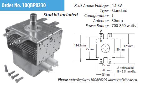 2M253J L Magnetron NON-OEM Compatible ERP 10QBP0230